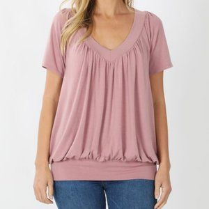 Light Rose Soft V-Neck Short Sleeve Shirt